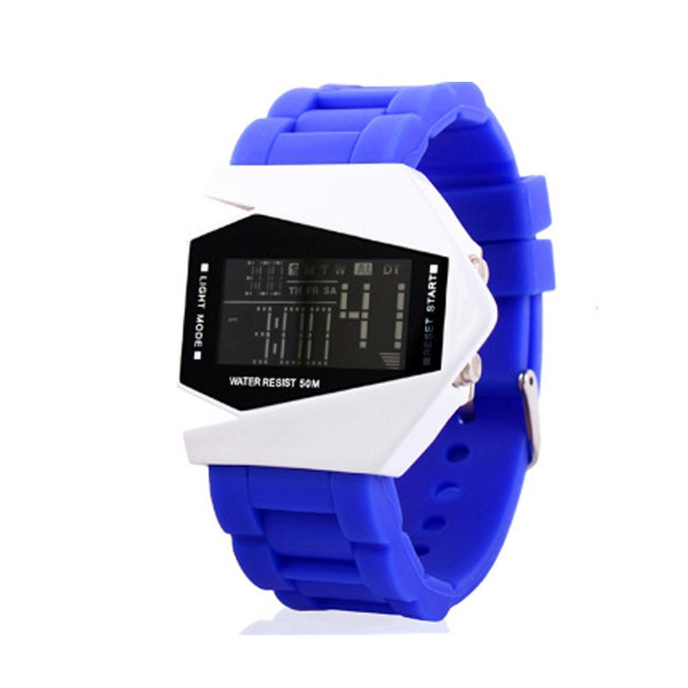 50M Multifunction Wristwatch Men Sport Airplane Design LCD Alarm Men Sport Cuff Watch Band blue