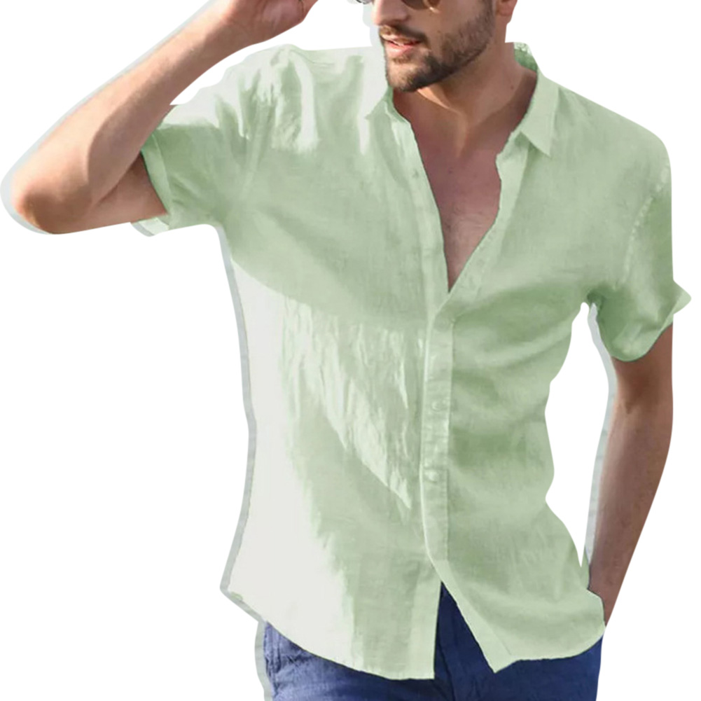 Men Casual Short Sleeves Shirt Concise Solid Color Shirt green_L