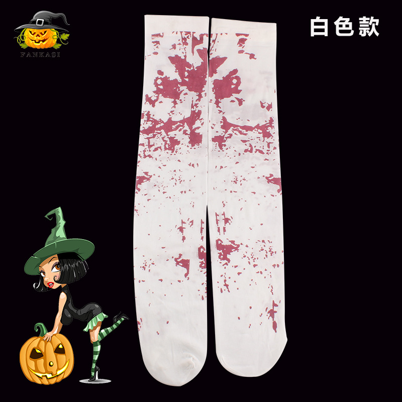 Halloween Bleeding Skeleton Pattern Stocking Cosplay Costume Accessories  Bleeding pattern socks