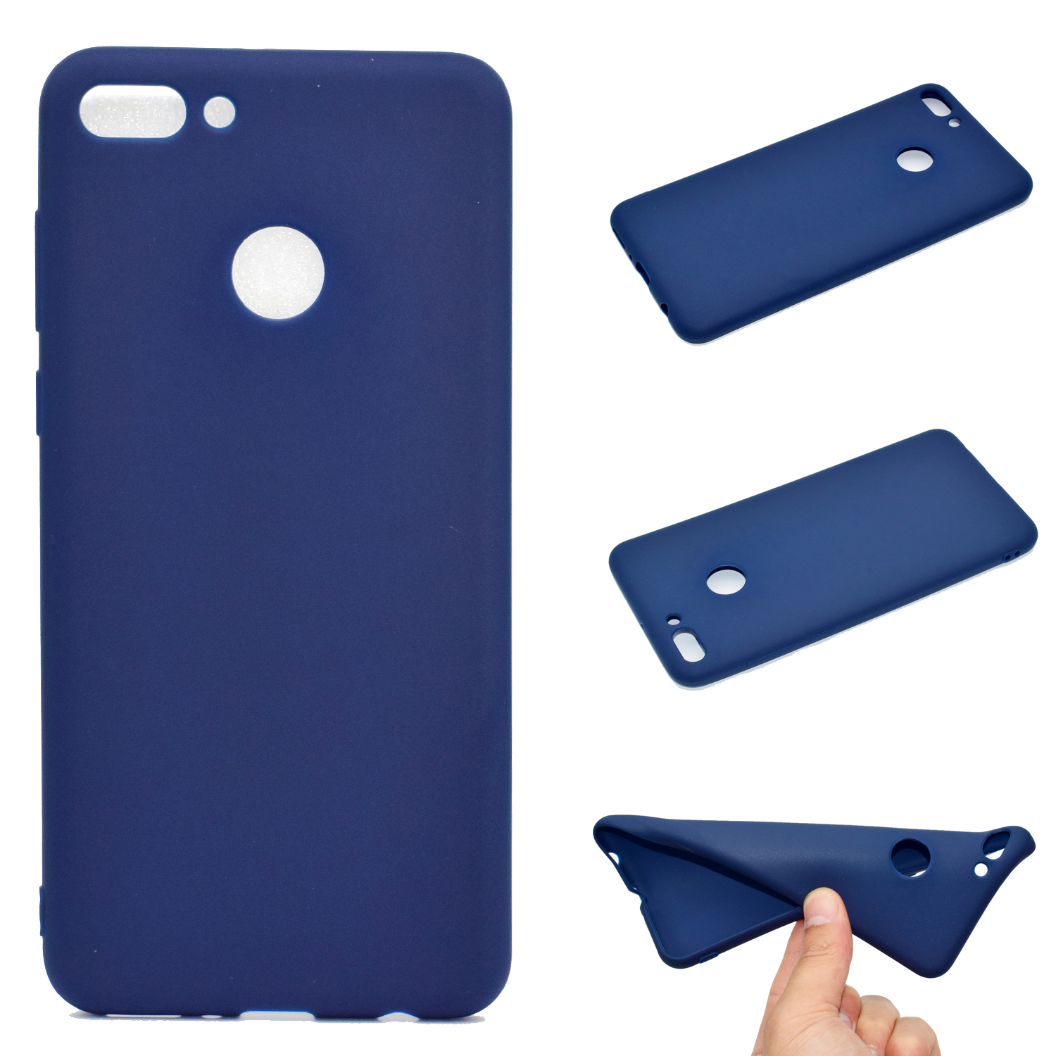 for HUAWEI Y9 2018 Lovely Candy Color Matte TPU Anti-scratch Non-slip Protective Cover Back Case Navy