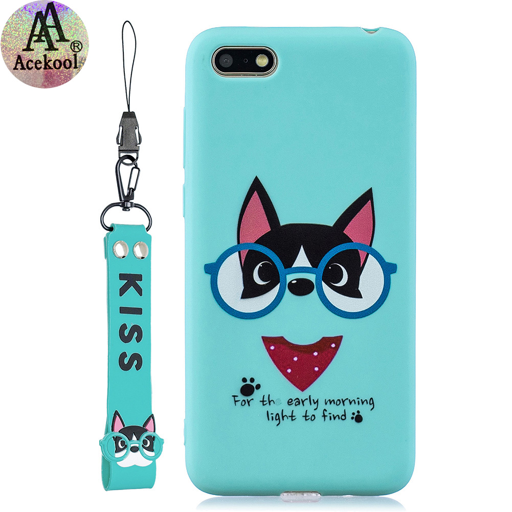 Acekool for HUAWEI Y5 2018 Cartoon Lovely Coloured Painted Soft TPU Back Cover Non-slip Shockproof Full Protective Case with Lanyard Light blue