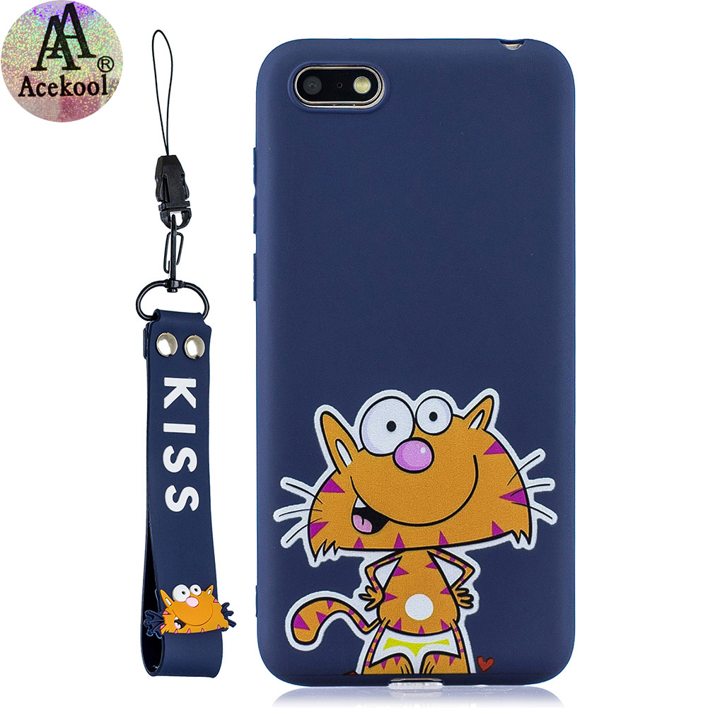 Acekool for HUAWEI Y5 2018 Cartoon Lovely Coloured Painted Soft TPU Back Cover Non-slip Shockproof Full Protective Case with Lanyard sapphire
