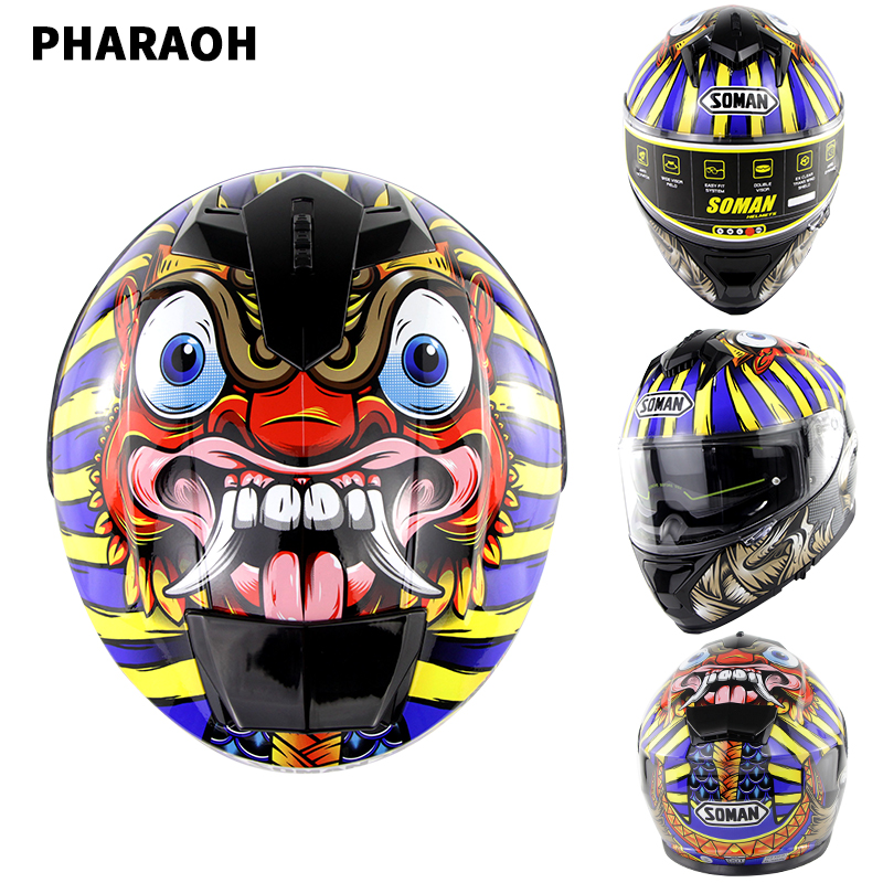 Outdor Riding Helmet  Motorcycle Racing Helmet Men and Women Motorcycle Helmet Double Lenses Compatiable with Glasses Safe ECE Standard Helmet Motorcycle Accessaries Pharaoh_L