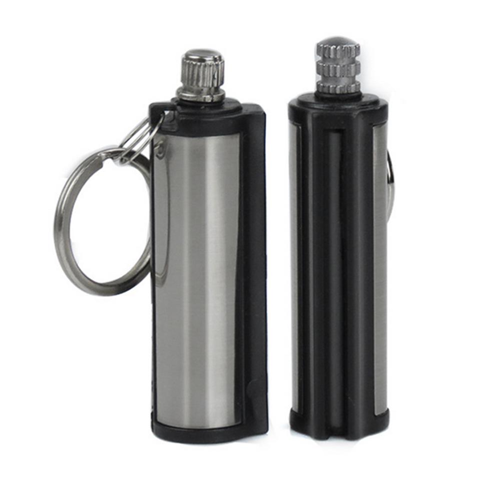 Steel Fire Starter Flint Match Lighter Keychain Camping Emergency Survival Gear stainless steel_2pcs 5.5*1.9