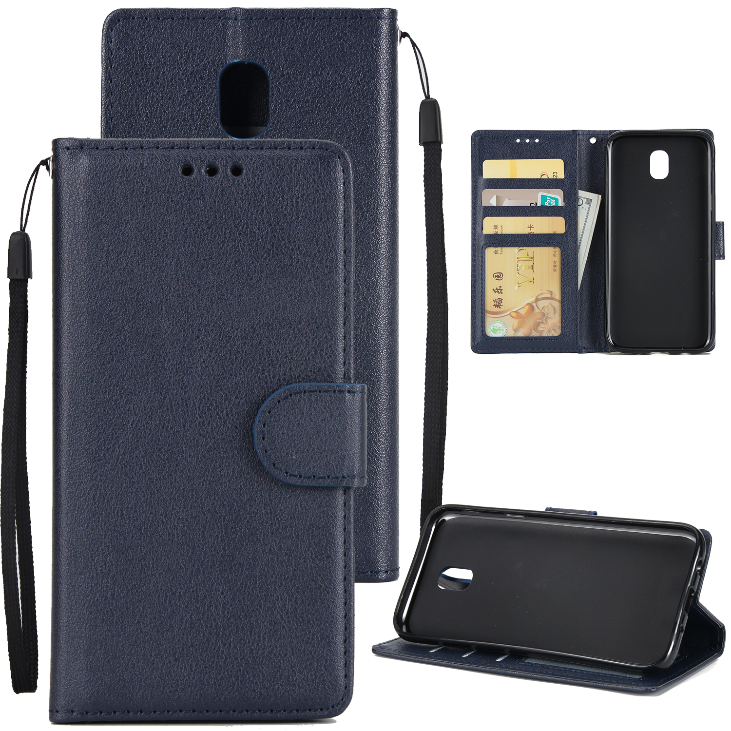 For Samsung J7 PLUS/J7+ Full Protective Clip Case Cover PU Stylish Shell with Card Slot blue