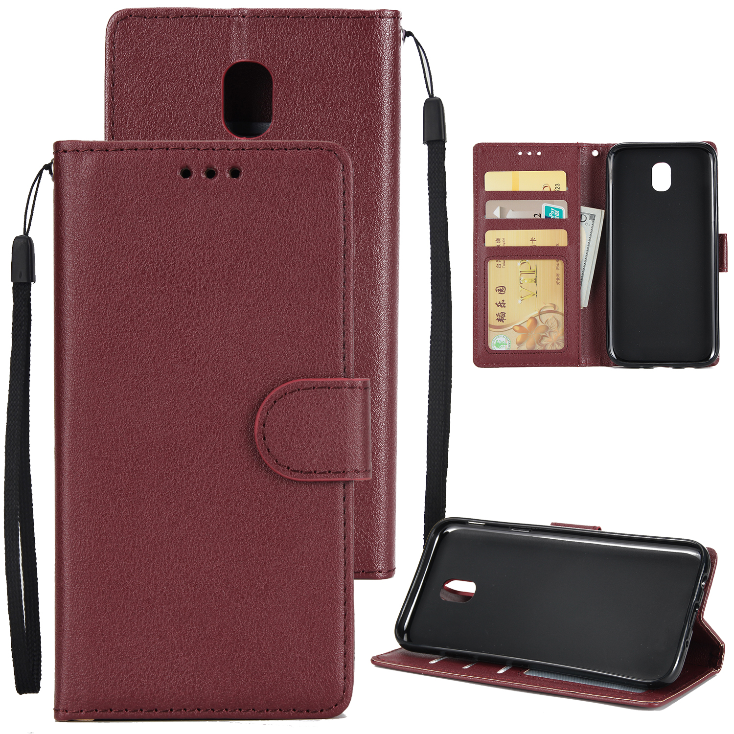 For Samsung J7 PLUS/J7+ Full Protective Clip Case Cover PU Stylish Shell with Card Slot wine Red