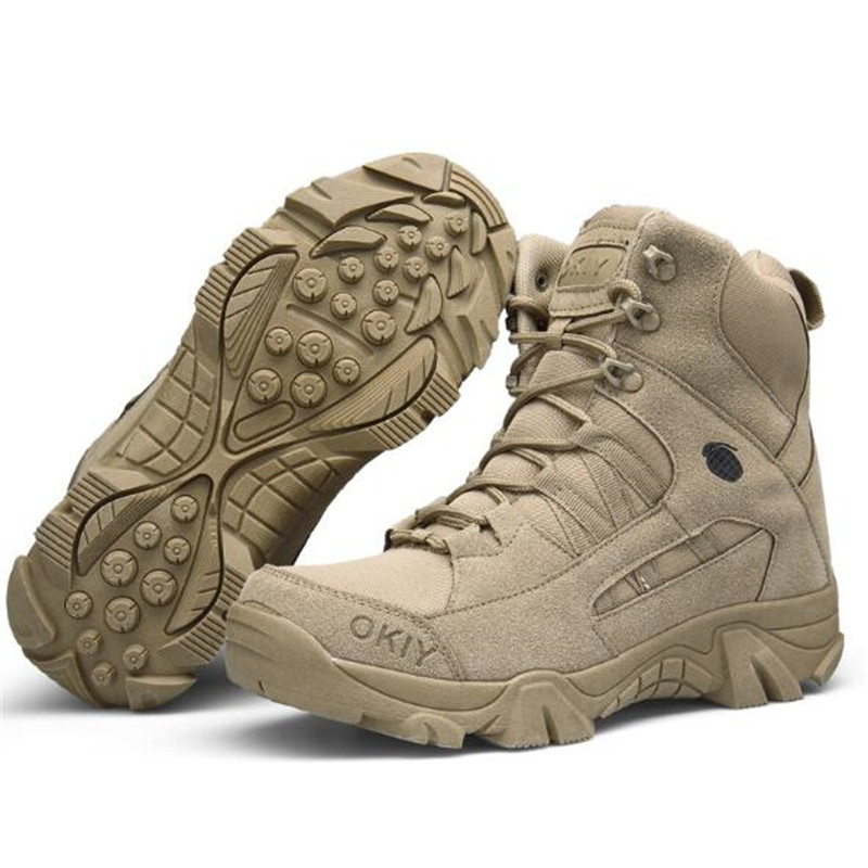 Men Army Tactical Combat Military Ankle Boots Outdoor Hiking Desert Shoes sand color_44