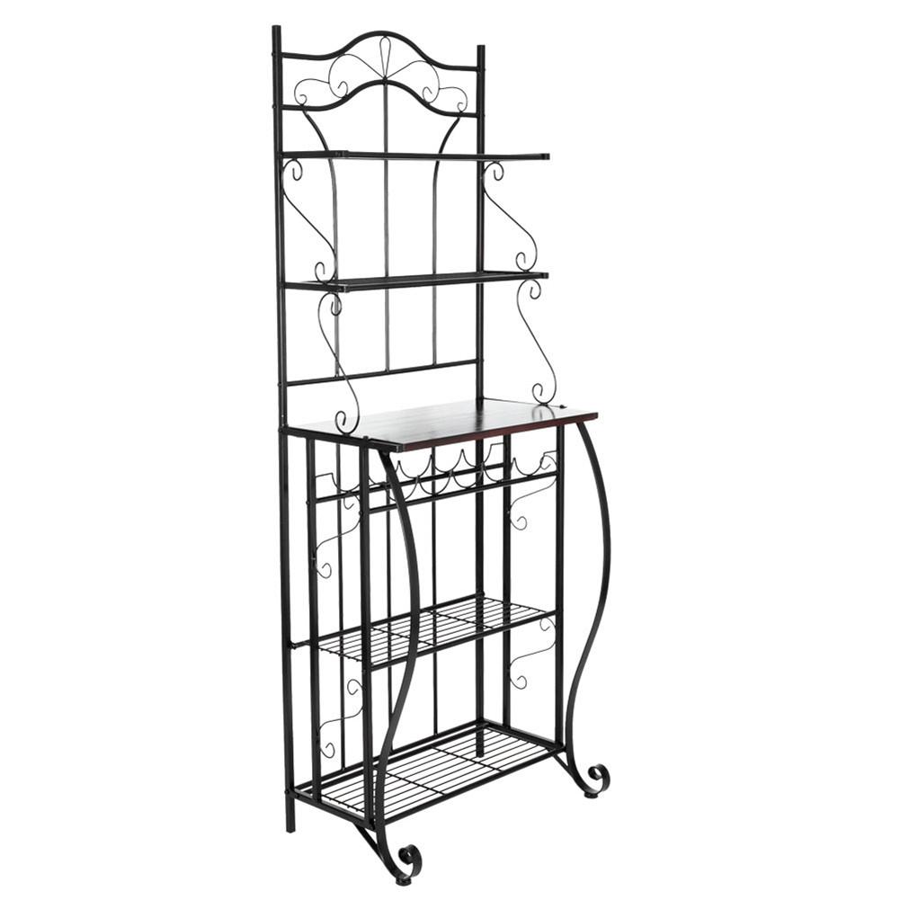 [US Direct] 5-tier Metal Kitchen  Rack Storage Holder Organizer (HT-CJ011 With Accessories) black