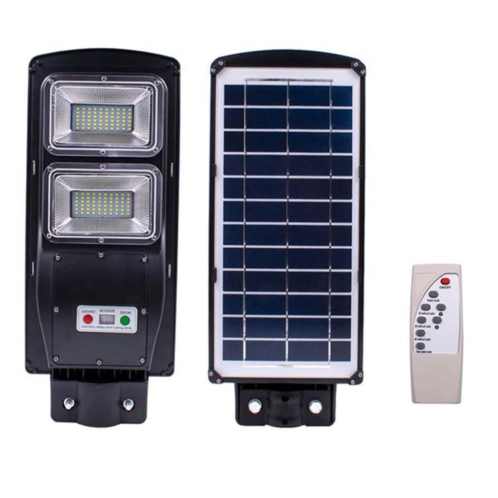 [US Direct] 60w 120leds Solar Street Path Light Light Control Radar Sensor Remote Control Outdoor Wall Road Lamp black