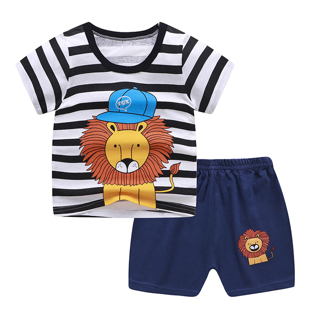 2Pcs Unisex Baby Short Sleeved Tops+Shorts Cartoon Pattern Clothes Children Home Wear B_110