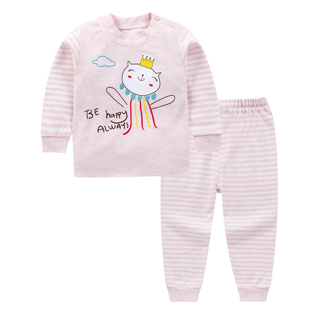 2 Pcs/set Children's Underwear Set Cotton Long-sleeve + Trousers for 0-3 Years Old Kids A _80cm