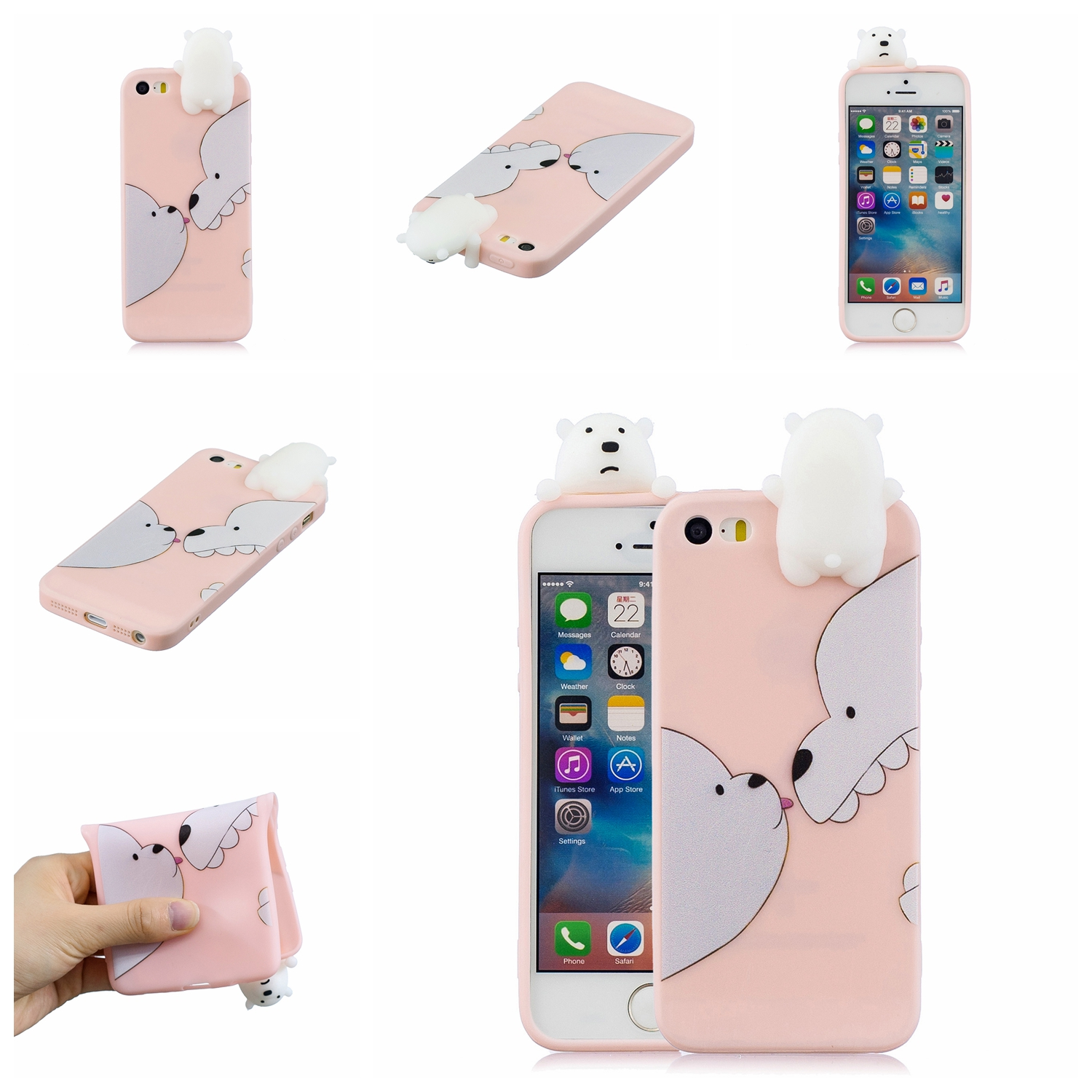 For iPhone 5/5S/SE 3D Cartoon Lovely Coloured Painted Soft TPU Back Cover Non-slip Shockproof Full Protective Case Big white bear