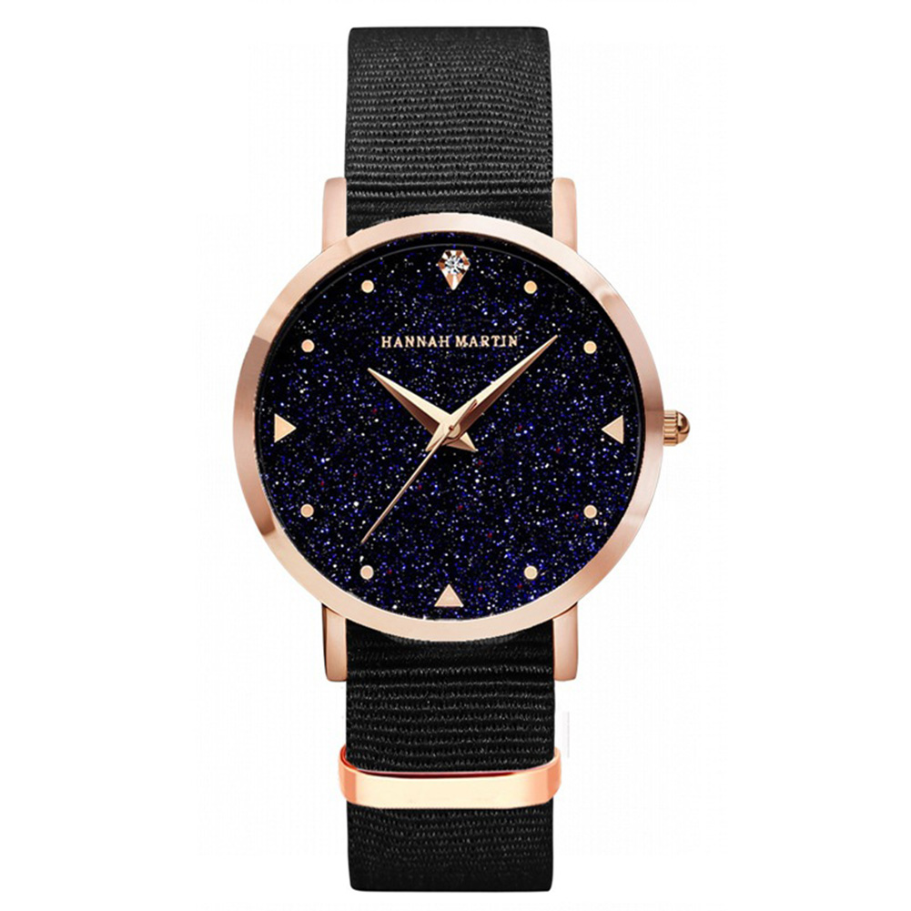 Hannah Martin Lady Fashionable Starry Sky Casual Wristwatch Round Dial Quartz Watch with PU Strap
