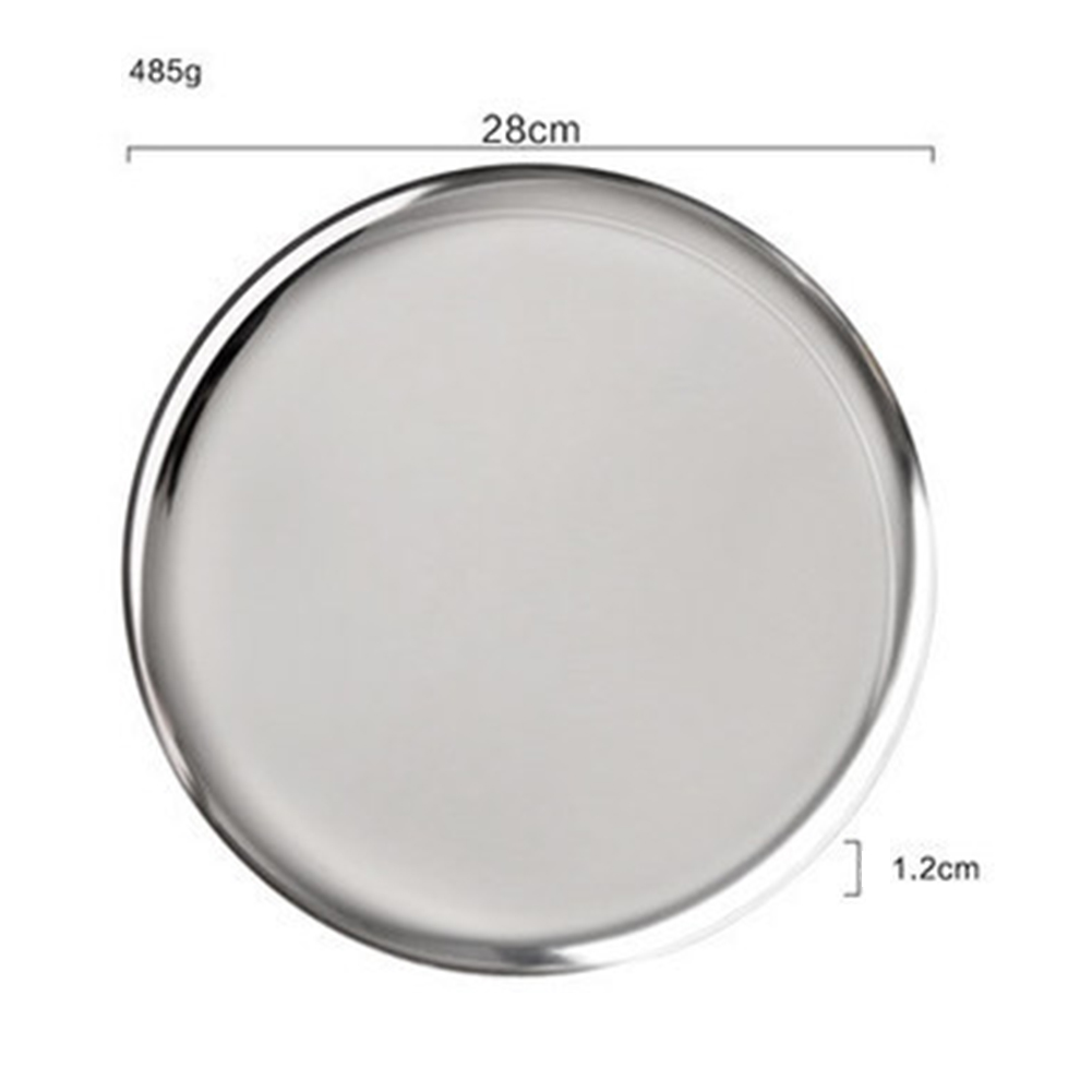 Stainless Steel Rainbow Round Serving Tray Dinner Serving Dish Cosmetics Jewelry Organizer  Silver disc