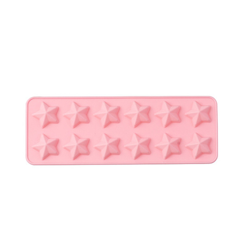 12 Cavity Star Shape Silicone Baking Mold for DIY Cake Candy Ice Chocolate Mold Pink