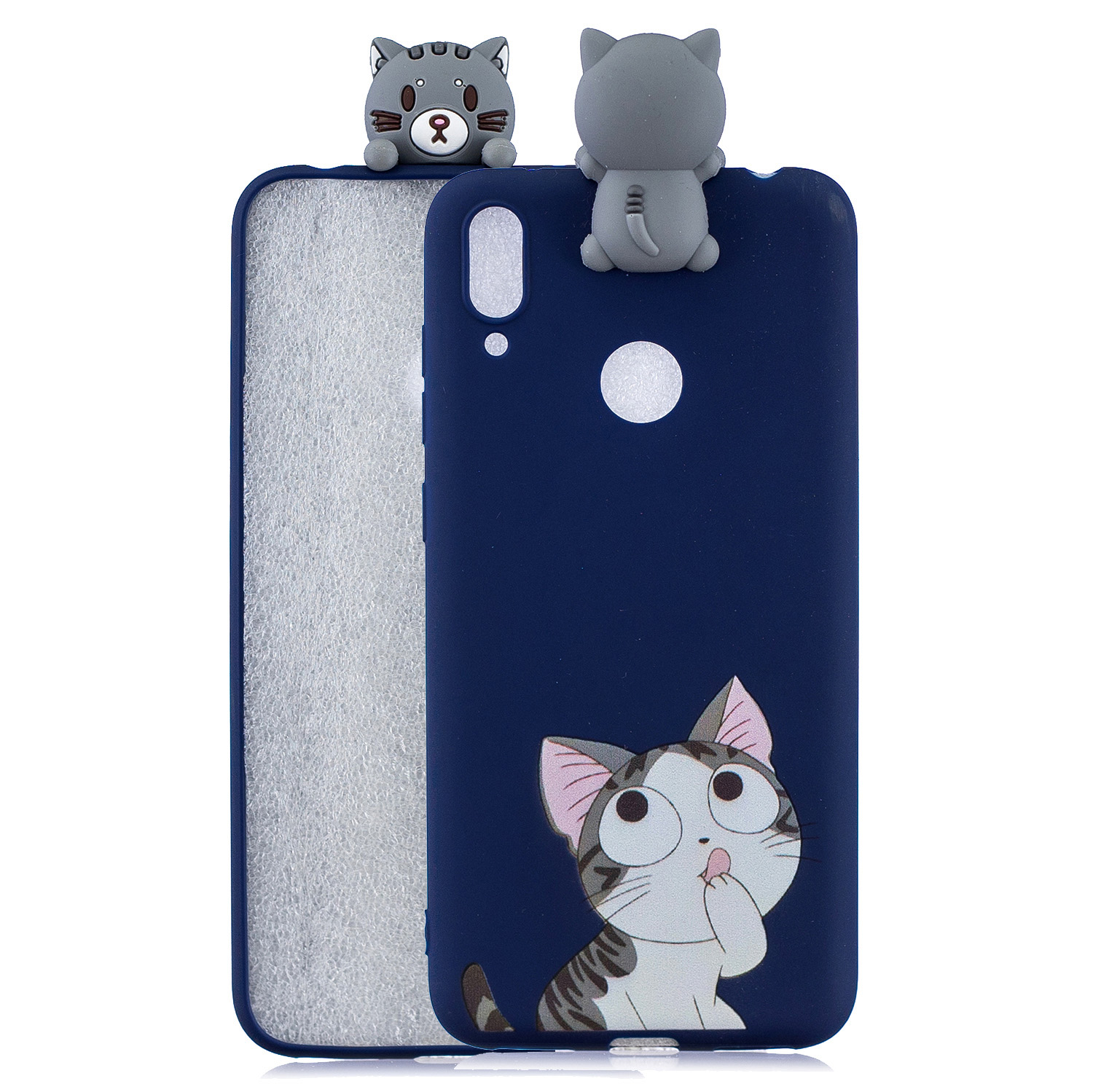 For Huawei Y7 2019 3D Cartoon Lovely Coloured Painted Soft TPU Back Cover Non-slip Shockproof Full Protective Case big face cat