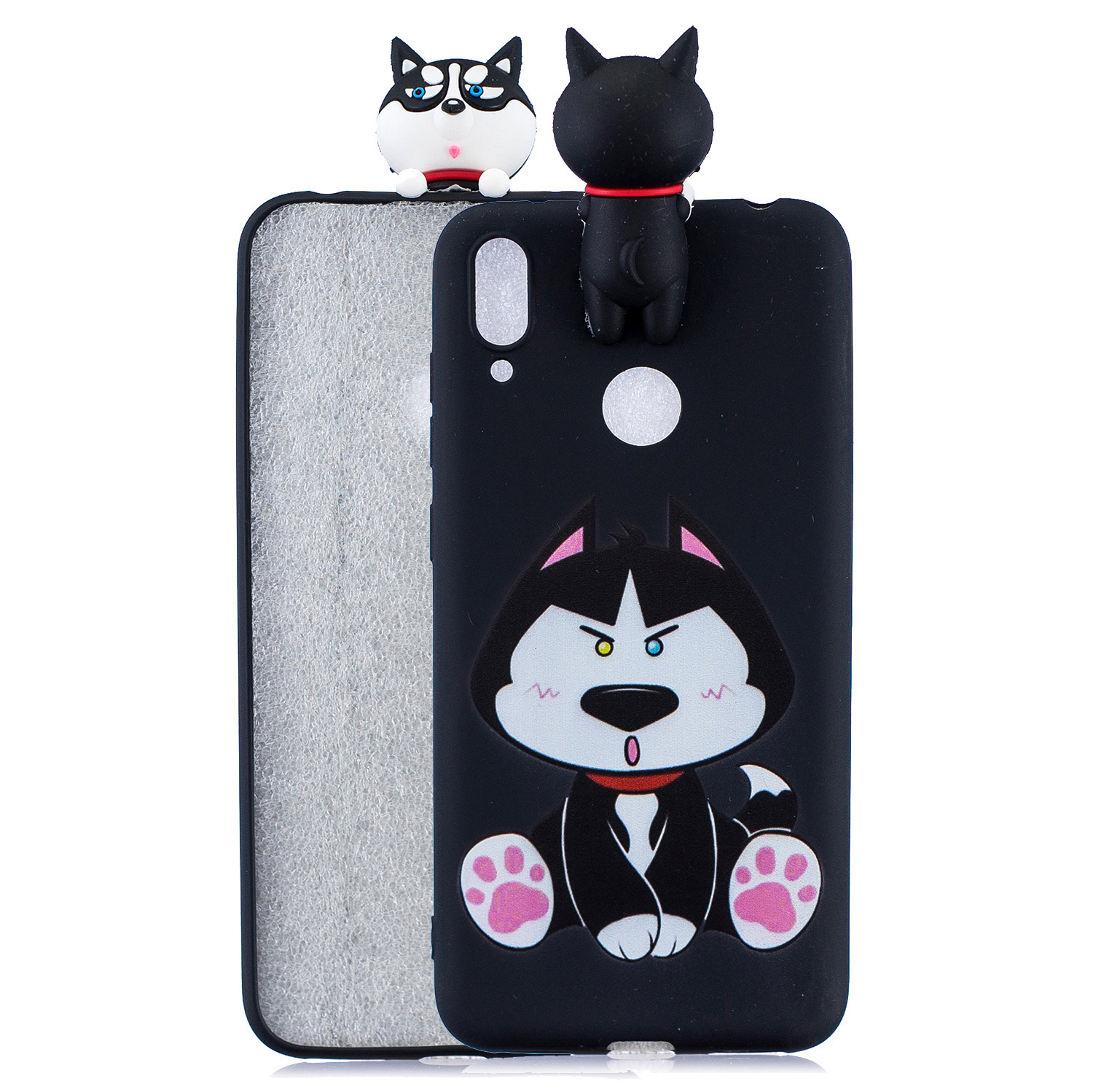 For Huawei Y7 2019 3D Cartoon Lovely Coloured Painted Soft TPU Back Cover Non-slip Shockproof Full Protective Case cute husky