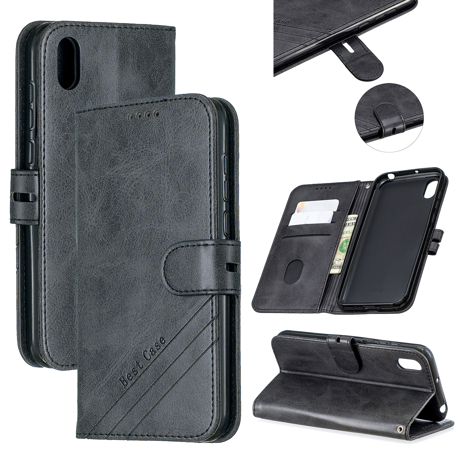 For HUAWEI Y5 2019 Denim Pattern Solid Color Flip Wallet PU Leather Protective Phone Case with Buckle & Bracket black