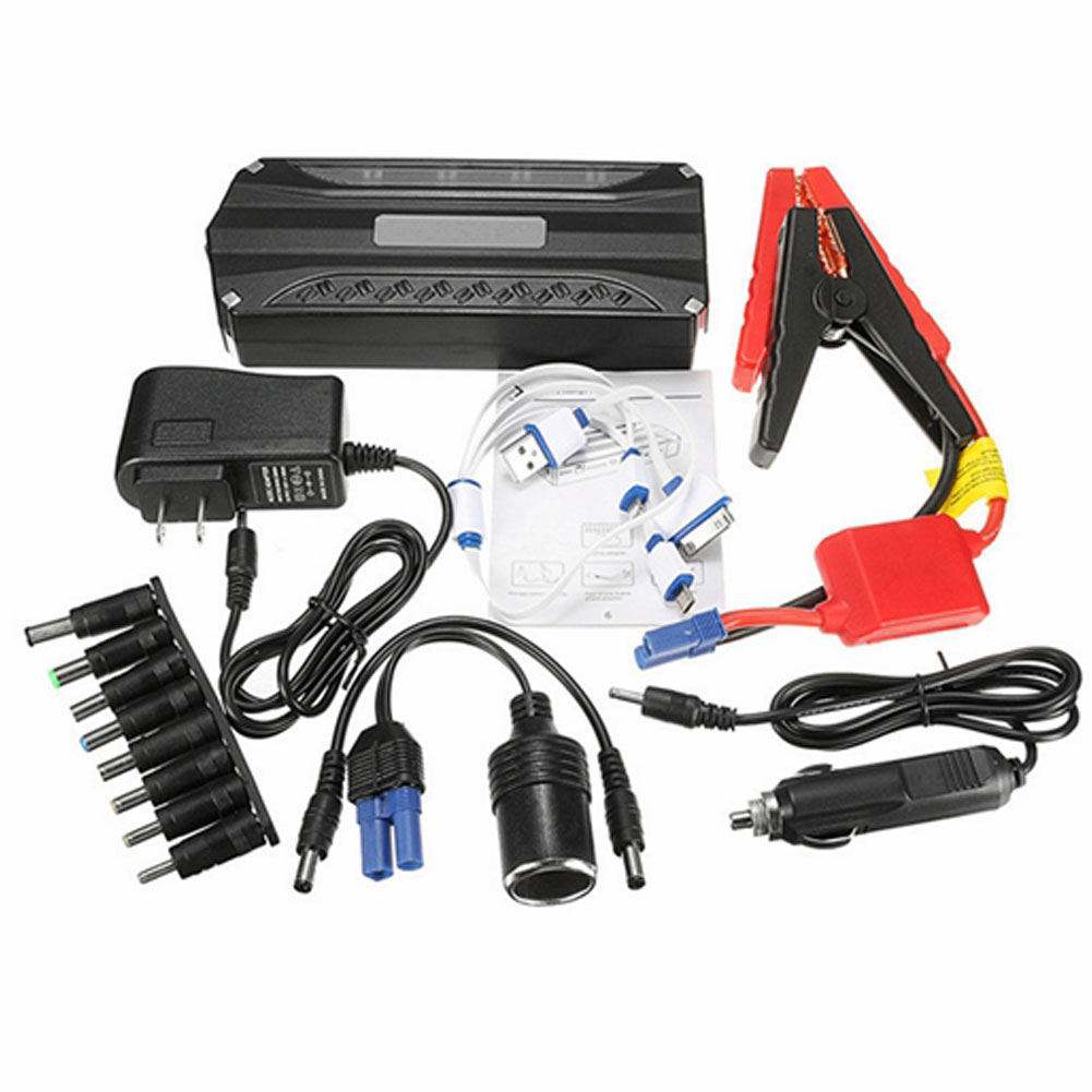 1 Set 12v Car Emergency Starting Power Supply 4 Usb Output 68800mah With Led Lighting Black