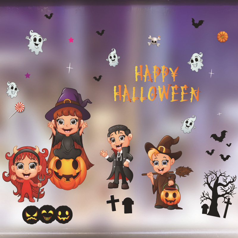Static Showcase Glass Sticker for Halloween Bar Kindergarten Decoration HY-W008