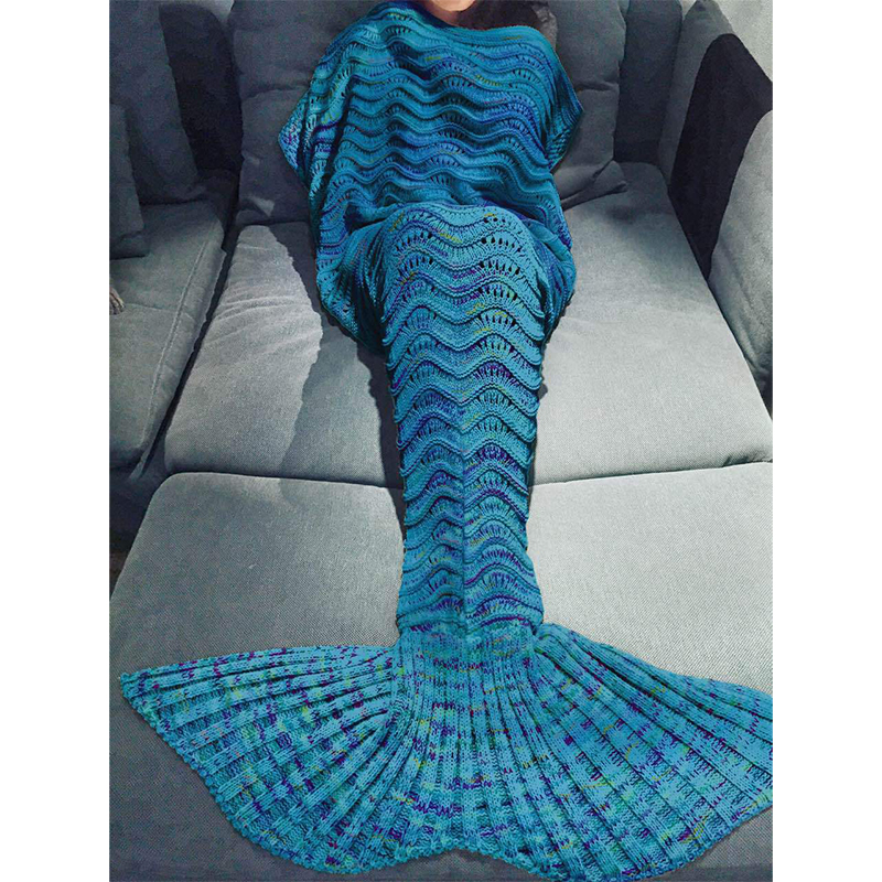 Hollow Ripple Wearable Wool Knit Mermaid Blanket Air Conditioner Sofa Cover Blanket