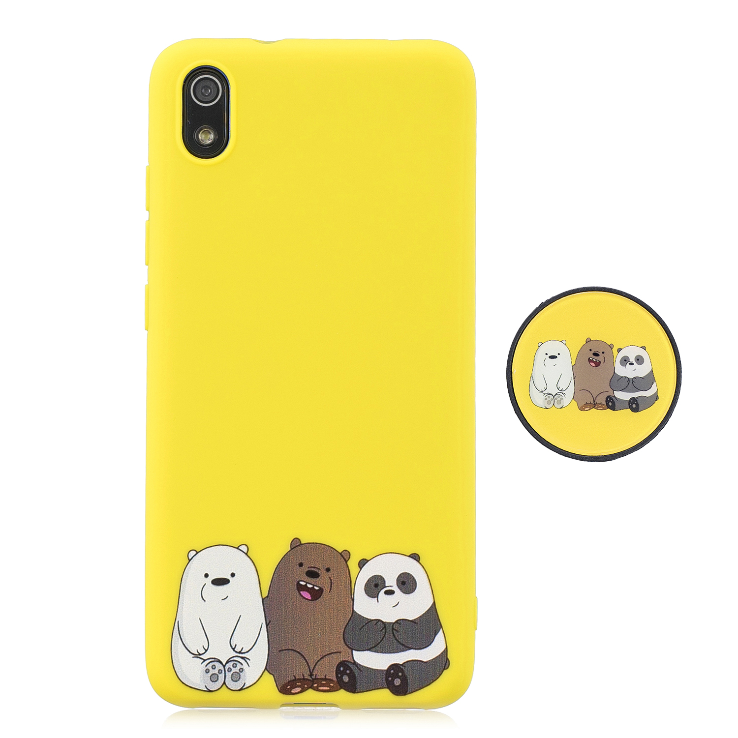 For Redmi 7A Soft TPU Full Cover Phone Case Protector Back Cover Phone Case with Matched Pattern Adjustable Bracket 7