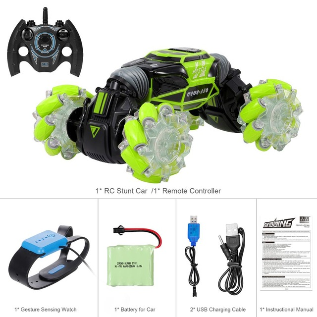 1:16 4WD RC Stunt Car Watch Control Deformable Gesture Induction with LED Light Electric Transform Drift Toy green