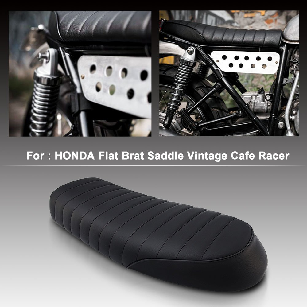 Motorcycle Vintage Saddle Cafe Racer Seat Flat Brat for Honda CB CL Yamaha SR XJ SUZUKI GS black