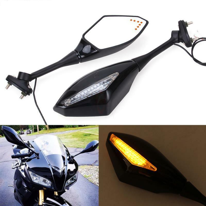 Motorcycle Turn Signal Integrated Mirrors LED light For Honda CBR600RR 2003-2017 CBR1000RR black