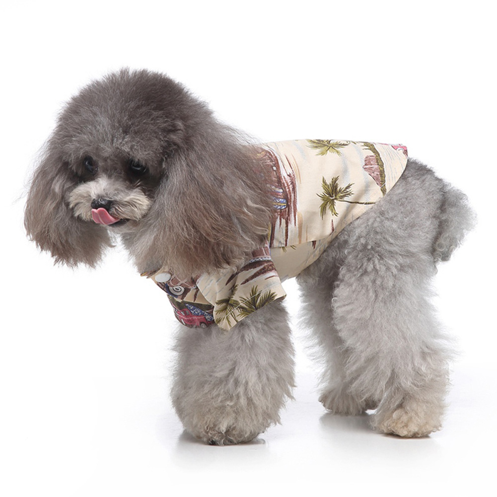 Pet Dog Shirts Clothes Summer Beach Shirt Vest Hawaiian Travel Blouse Beige_L