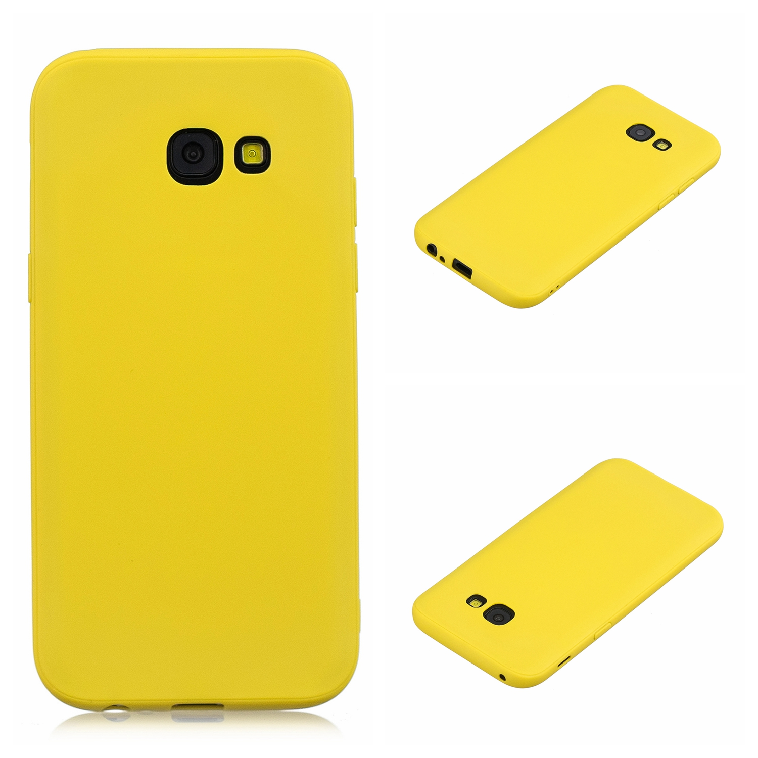 for Samsung A5 2017 Cute Candy Color Matte TPU Anti-scratch Non-slip Protective Cover Back Case yellow