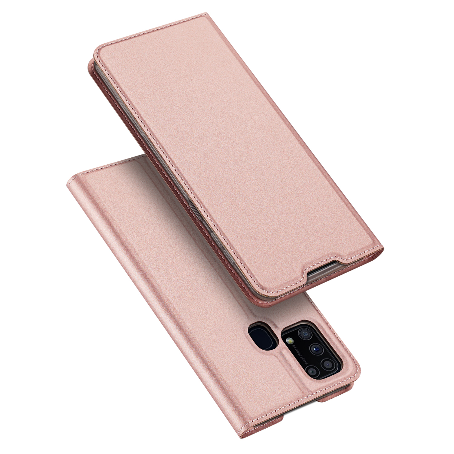 DUX DUCIS For Samsung M31 Leather Mobile Phone Cover Magnetic Protective Case Bracket with Cards Slot Pink