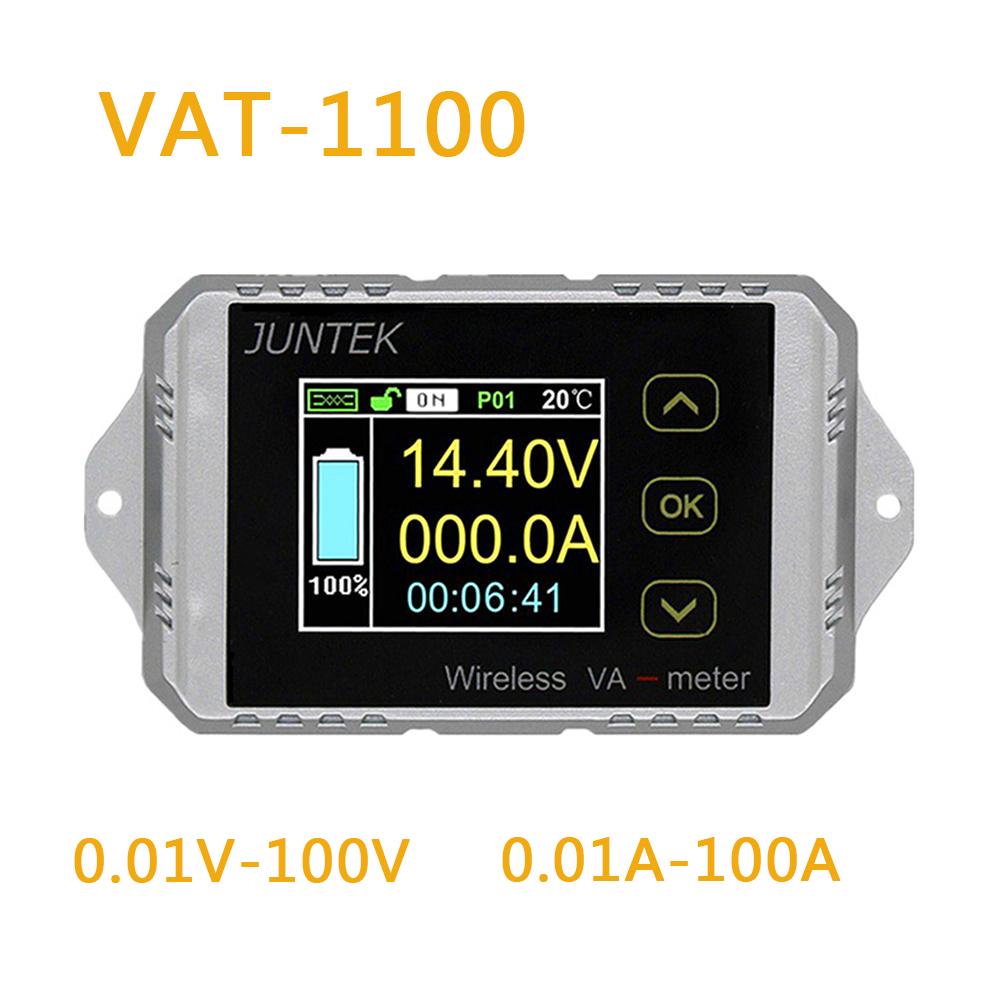 Juntek VAT1100 Wireless Voltage Current Meter 100V 100A Car Battery Monitoring 12V 24V 48V Battery Coulomb Counter VA Meter VAT-1100