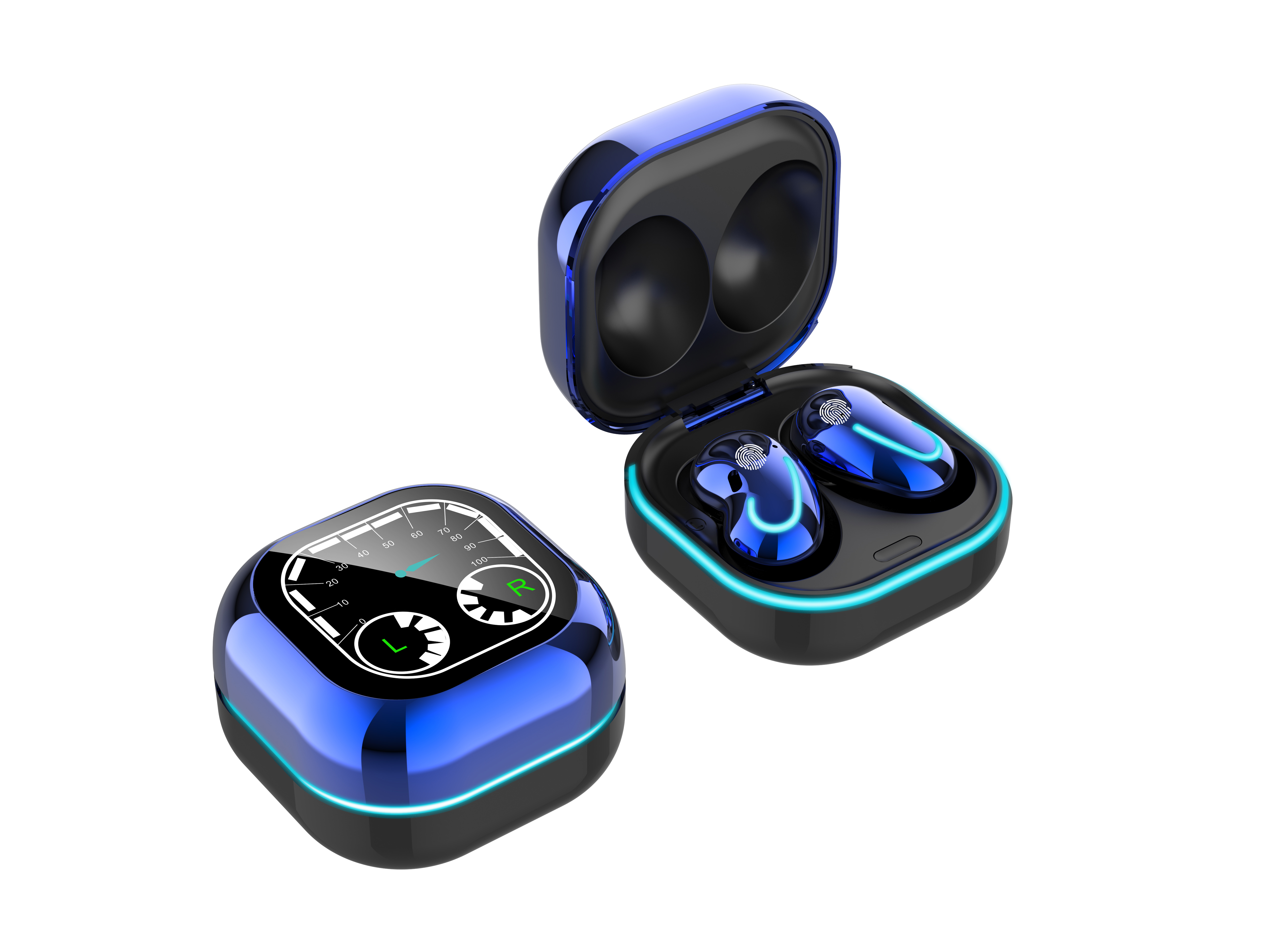 Bluetooth Earphones Breathing Light Timetable Display Tws 5.1 Wireless Mini Touch Control Bluetooth Headset blue