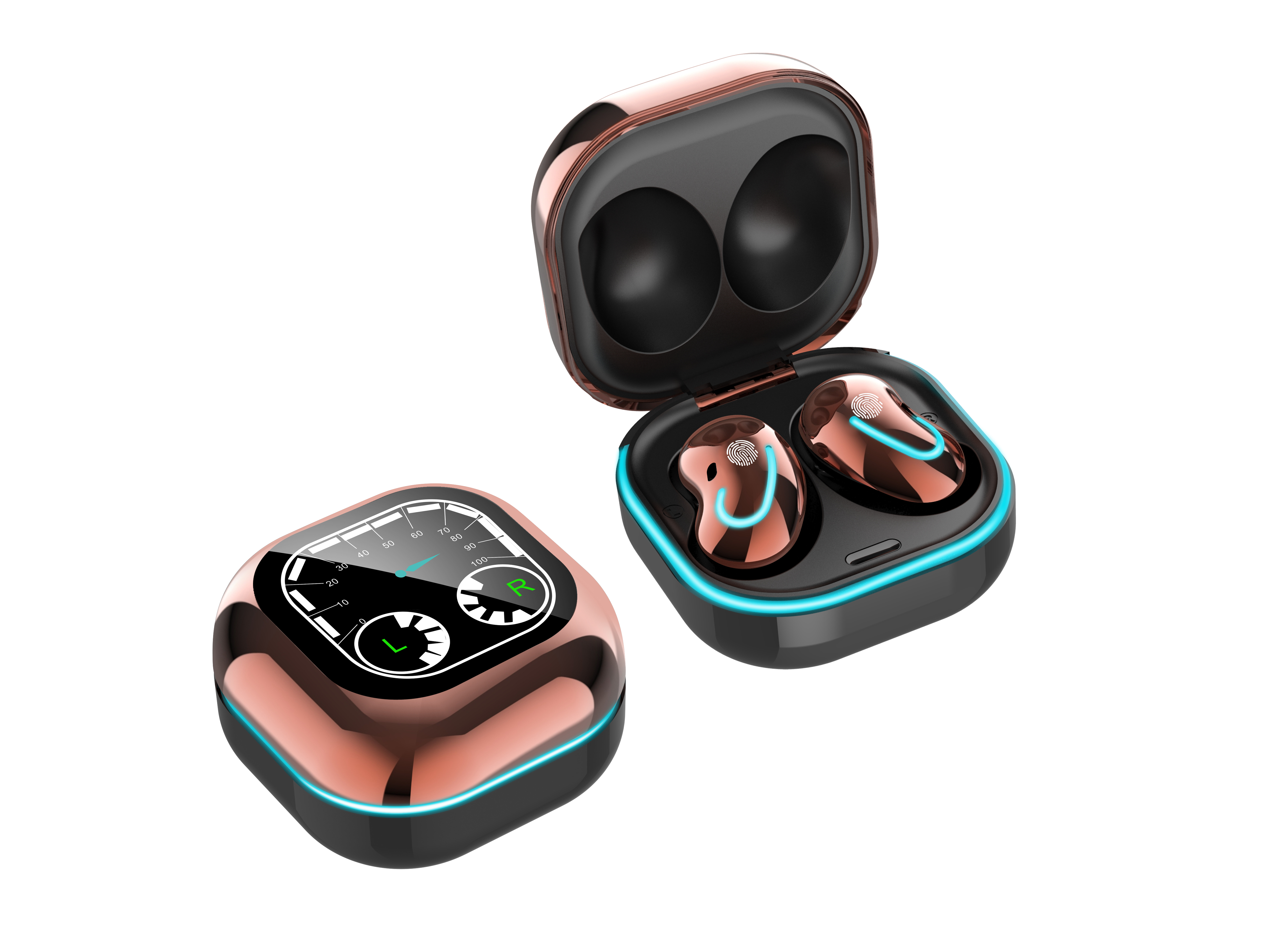 Bluetooth Earphones Breathing Light Timetable Display Tws 5.1 Wireless Mini Touch Control Bluetooth Headset Golden