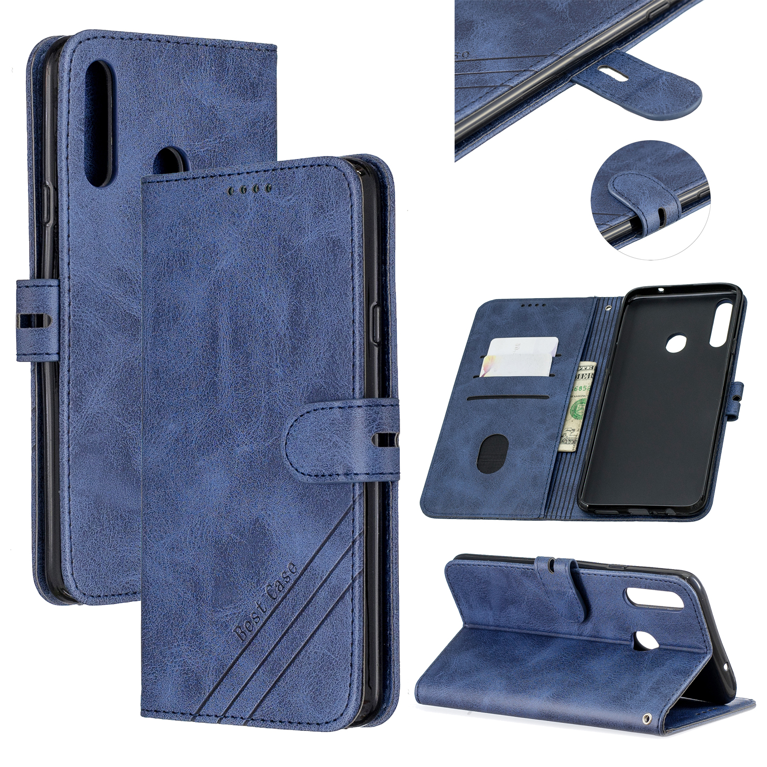 For Samsung A10S A20S Solid Color Denim Texture Front Clasp Bracket Leather Mobile Phone Cover blue