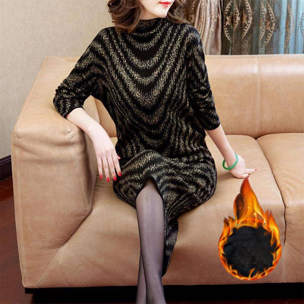 Women Fashion Autumn And Winter Warm Velvet Thickening Slimming Dress Black-yellow stripes_5XL