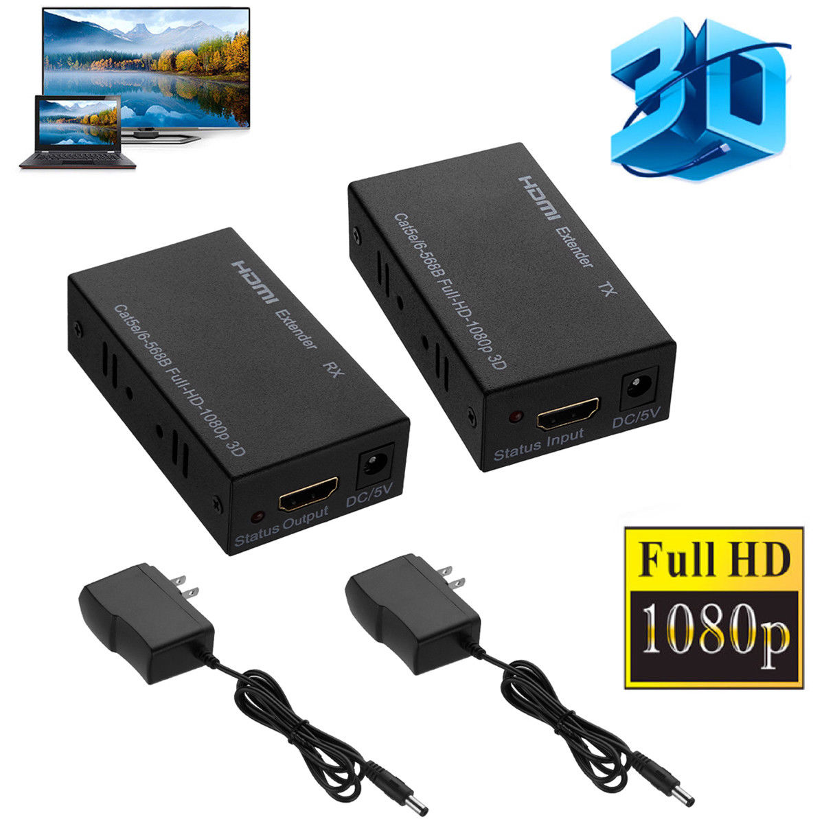 3D 1080P HDMI Network Extender Over Single Cable CAT5E/6 Ethernet RJ45 FHD 60M EU plug