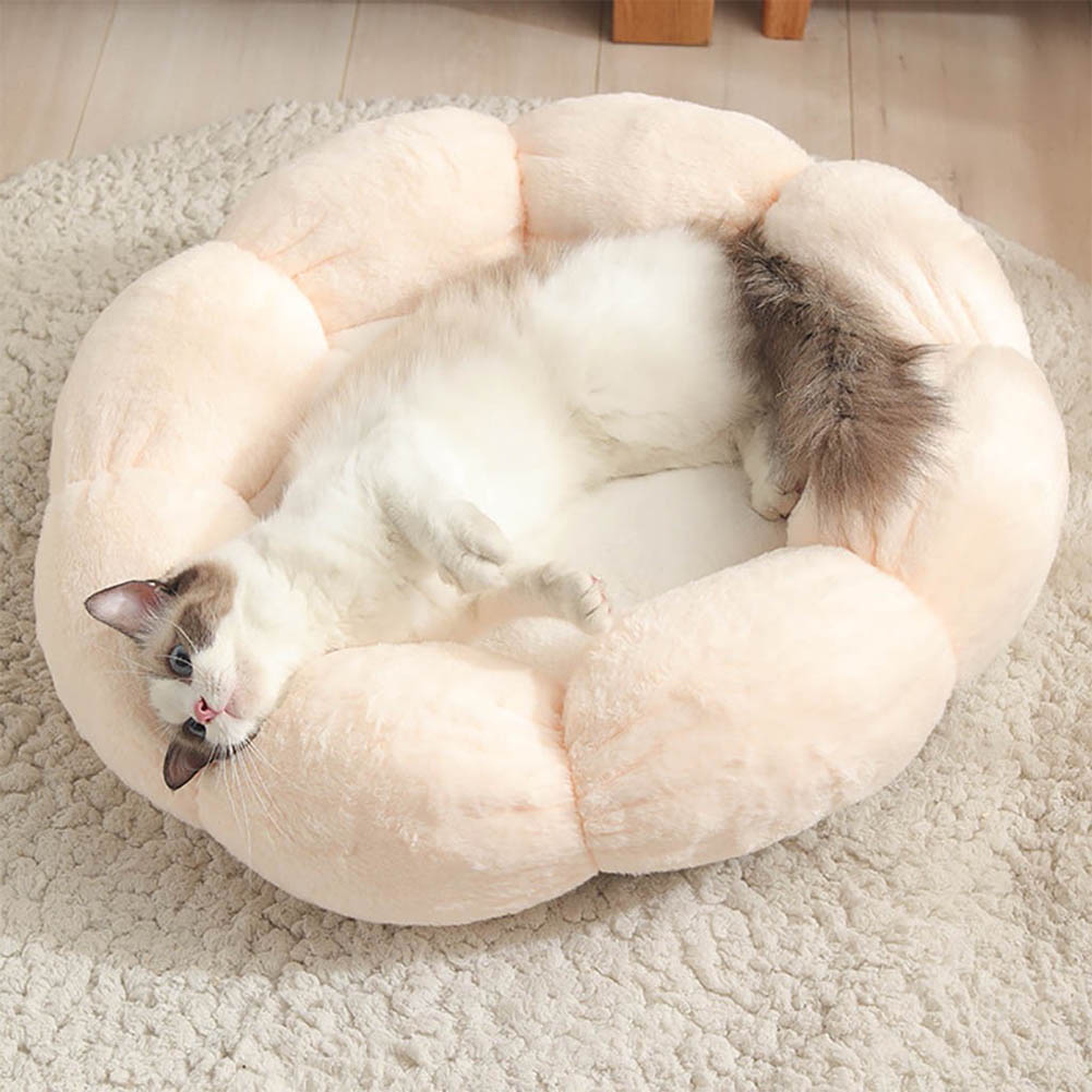 Flower Shape Cat Bed Short Plush Soft Cat House Winter Pet Dog Cushion Mats Nest Light pink+white_ 40cm