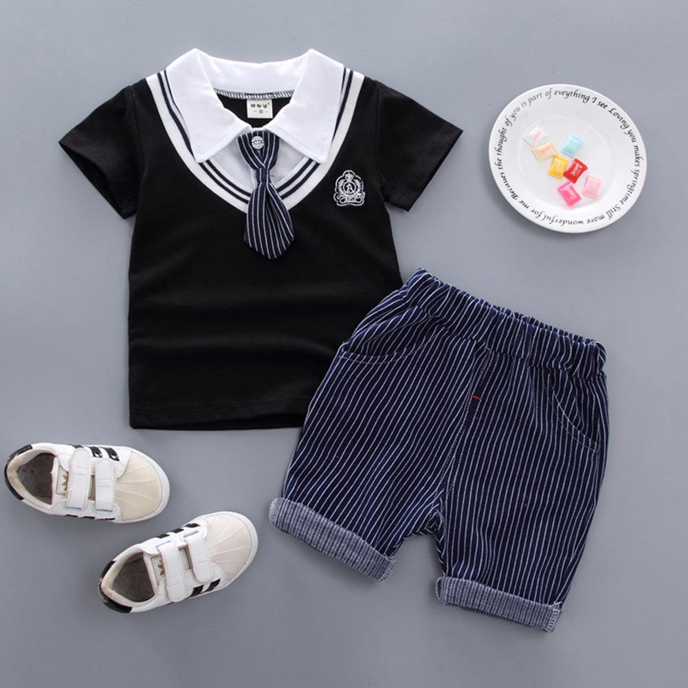 Kids Boys Stripe Printing Tie Short Sleeve T Shirt+Shorts Set BBE chicken heart collar black_110cm