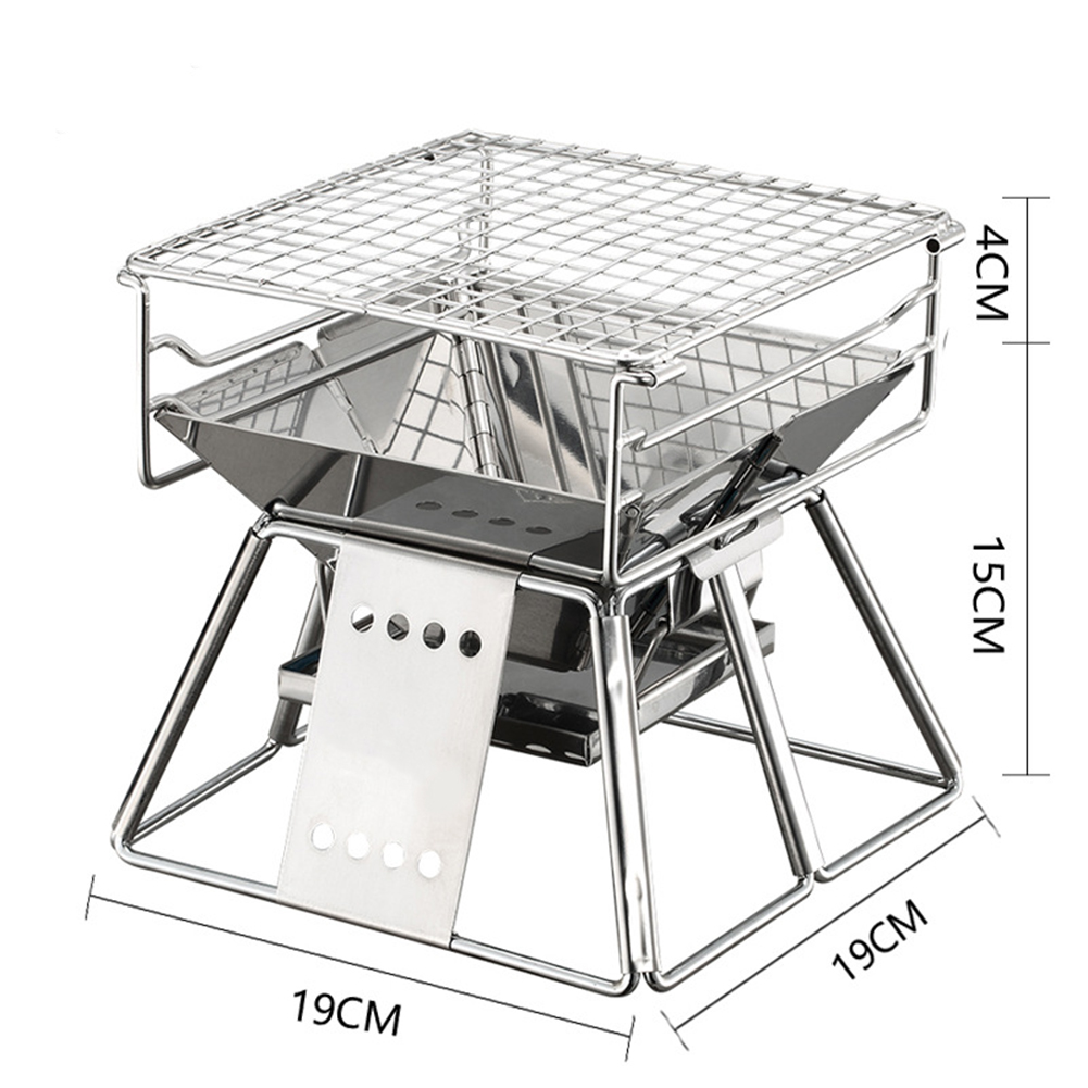Exquisite Portable Stainless Steel BBQ Oven Set BBQ Grill for Outdoor Small Barbecue 19*19cm