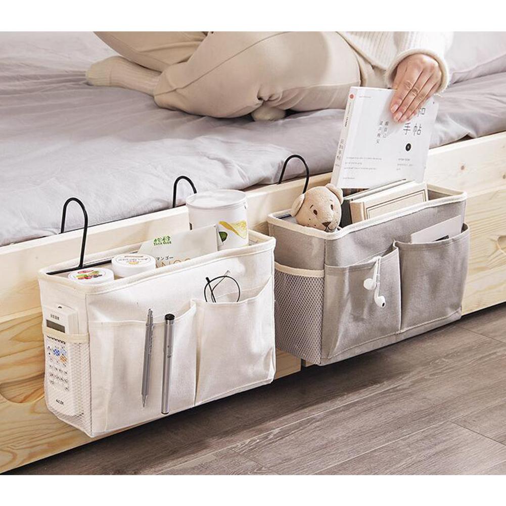 Caddy Hanging Organizer Bedside Storage Bag for Bunk and Hospital Beds, Dorm Rooms Bed Rails Upgrade white