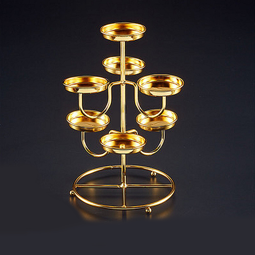 Ghee Lotus Candle Holder Candlestick Home Candelabra Tabletop Decoracion 3 layers 7holder
