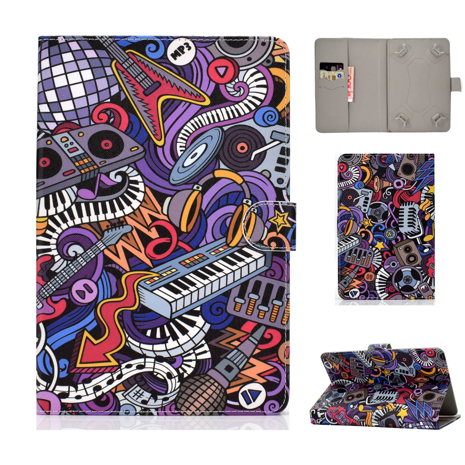 Universal 10Inches Laptop Protective Case with Front Snap Cute Cartoon Color Painted PU Cover  Graffiti