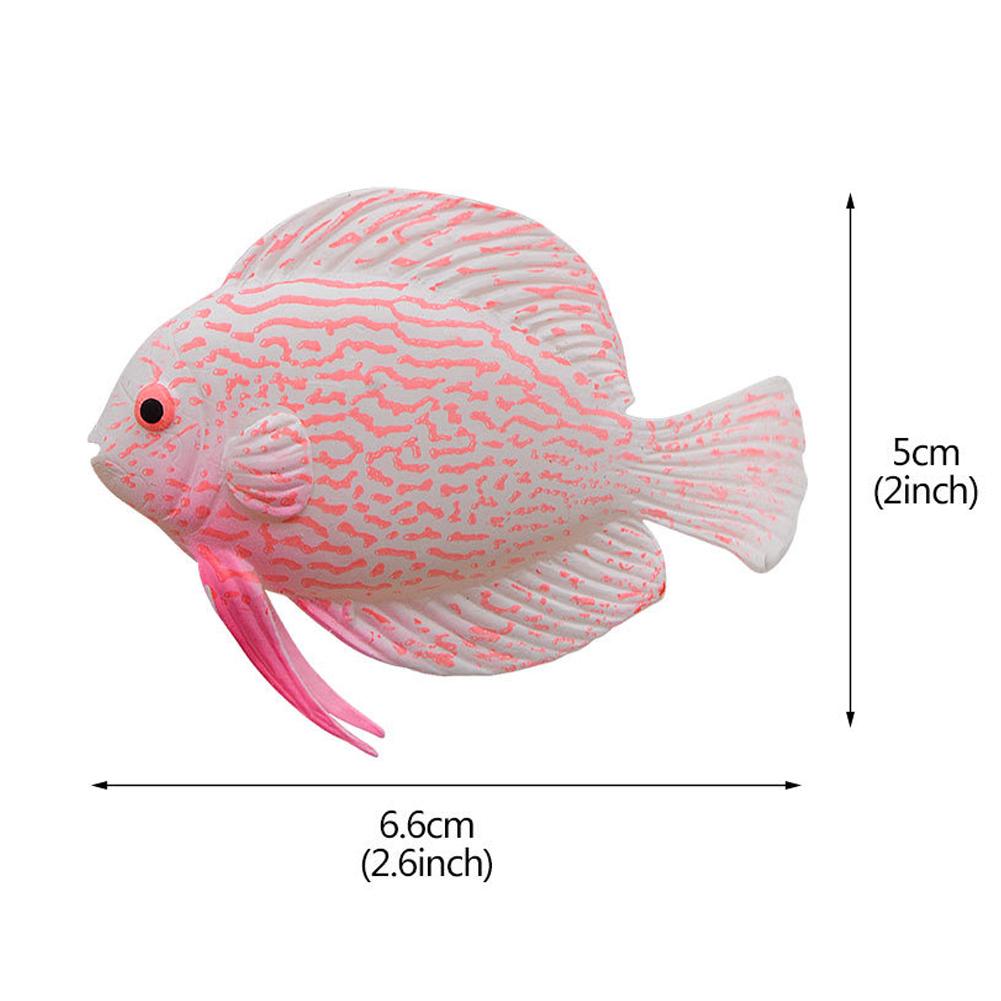 Noctilucent Simulate Silicone Fish Shape Aquarium Decoration Accessories F01 pink angelfish