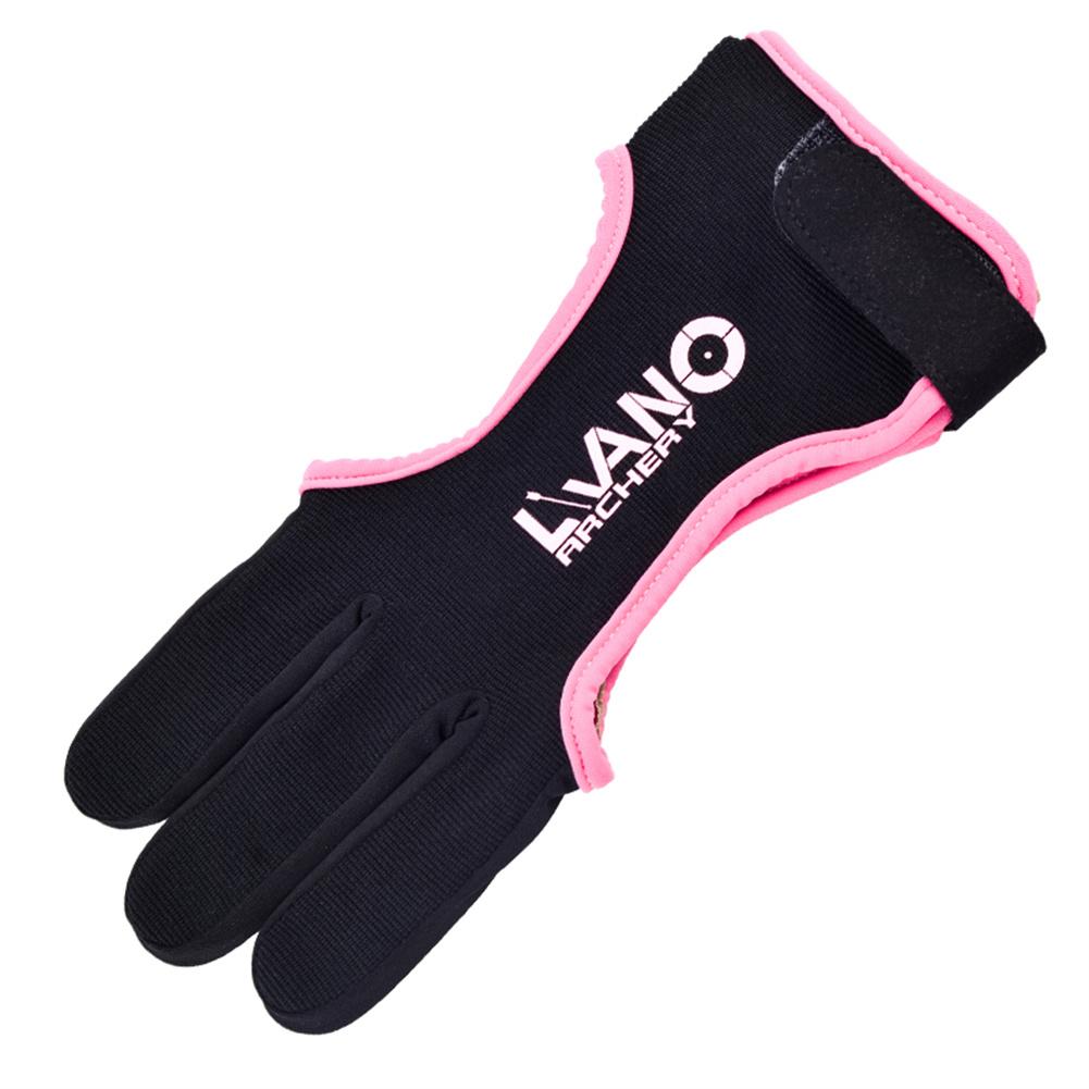 Nylon Three-finger Archery  Glove Adjustable Elastic Finger Protector Guard Bow Accessories Black pink_XL