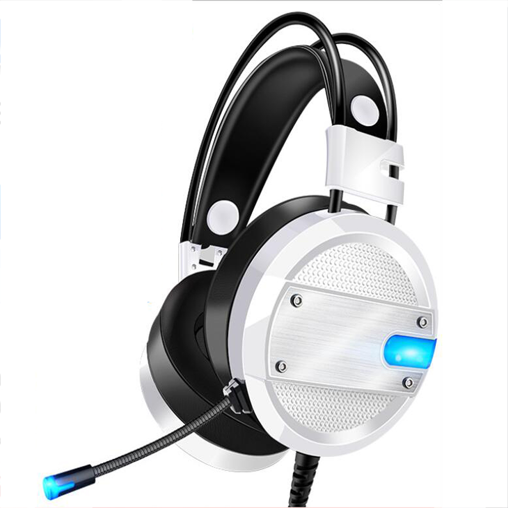 A10 Gaming Headset with Microphone Professional Wired Gaming Bass Over-Ear Headphones with Mic 3.5mm white + blue light