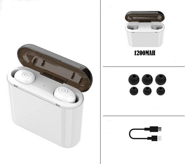 TWS Waterproof Bluetooth 5.0 Earbuds Headphones Wireless Headset Noise Cancelling English Version white