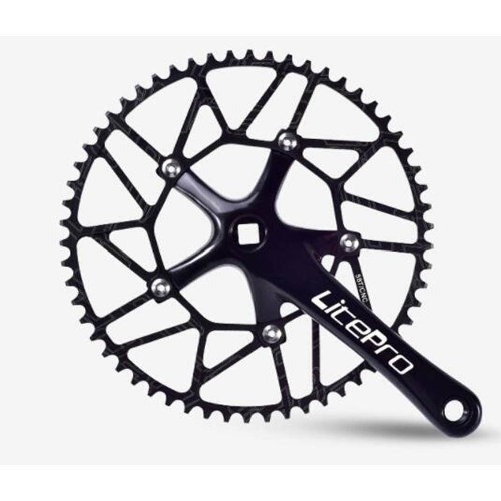Ultralight LP Positive And Negative Teeth 52 54 56 58T Single Disc 130BCD Crank Bicycle Sprocket Black crank + 56T disc / set_Special size