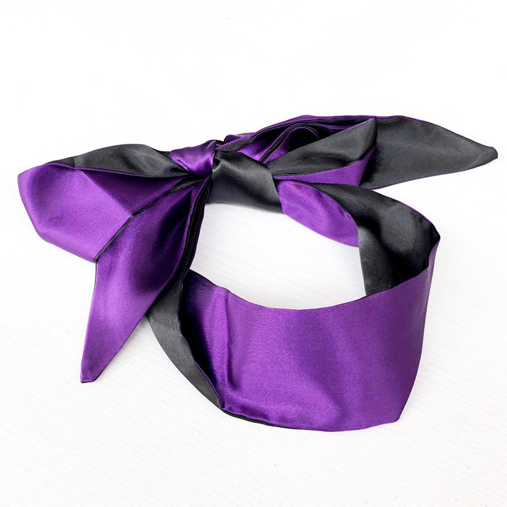 Sex Products Double Layer Blind Mask For Sleep Rest Soft Silk Satin Eye Patch Mask Ribbon Bondage Flirting Blindfold Black purple